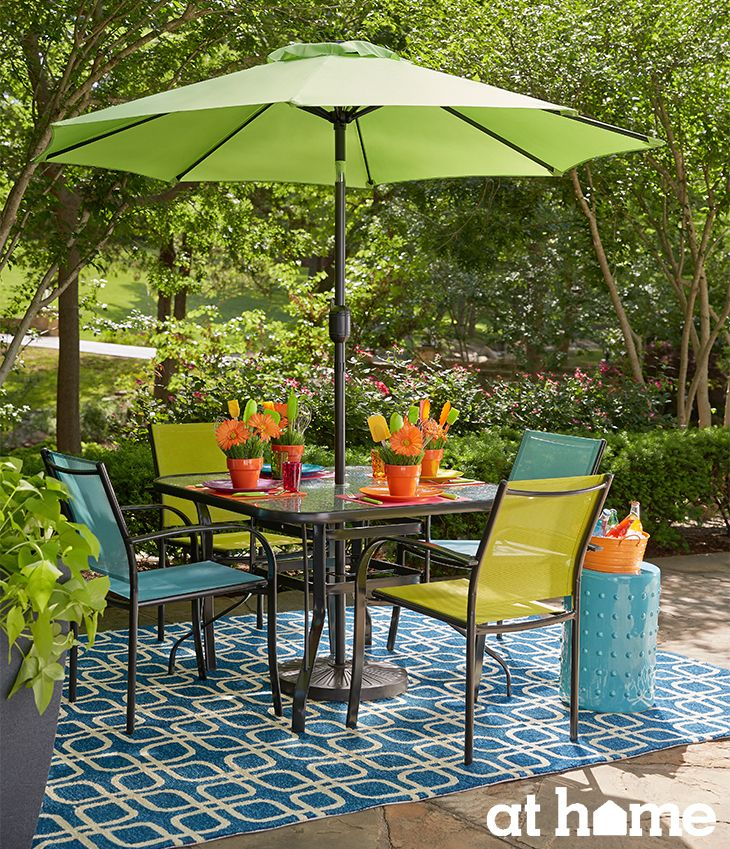 These shades of teal, lime green and orange in this living accents outdoor furniture set