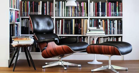 Eames style recliner with ottoman reading corner