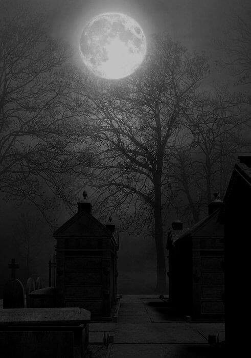 Cimetière sombre | Magnifique lune, Lune bonne nuit, Clair ...