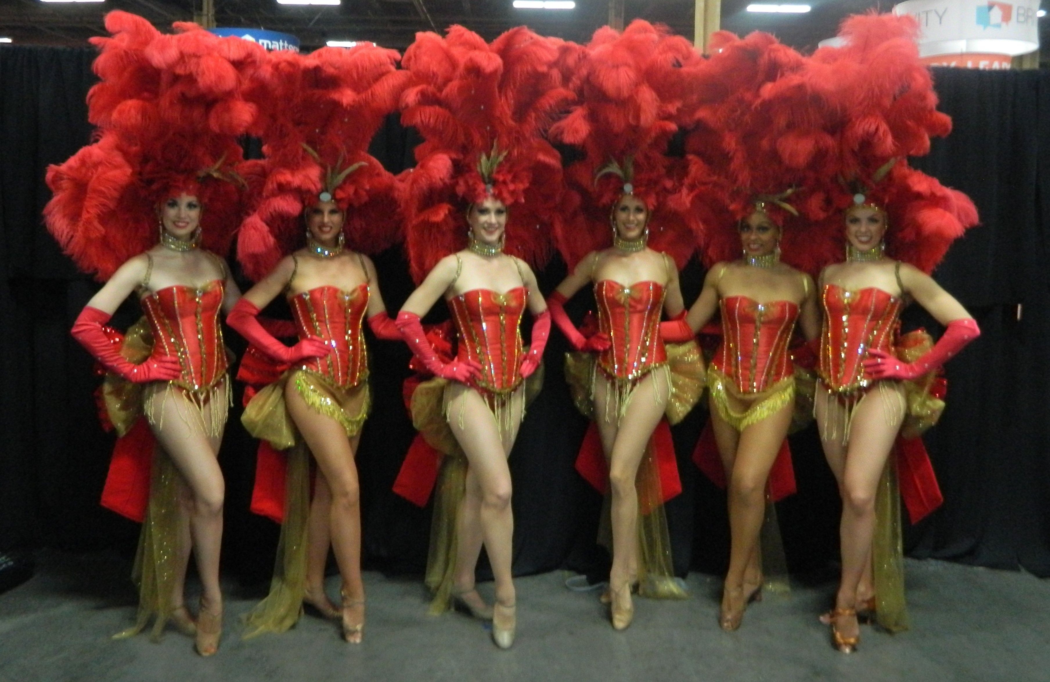 Beautiful Red & Gold Las Vegas Showgirl Costumes, Corporate Friendly. Premier Showgirls of Las ...