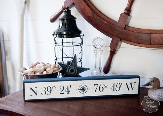 Ship wheel wall decor with old lamp and north west sign - nautical design inspiration.