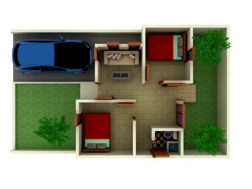 12 Denah Rumah Minimalis 1 Lantai Tipe 36 3D (Dengan ...