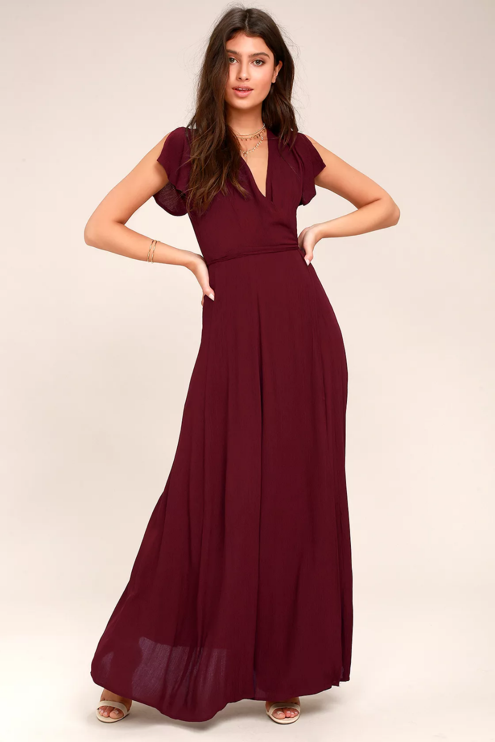 Heart of Marigold Burgundy Wrap Maxi Dress (With images ...