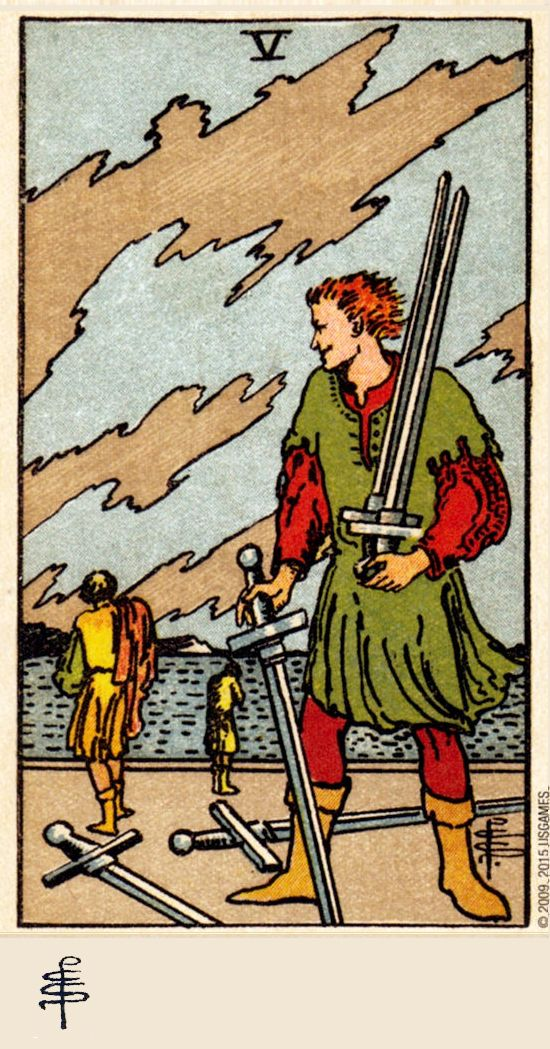 Five of Swords - Rider Waite Smith Tarot (Pamela C. Smith ...