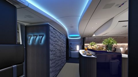 Boeing 777x Onboard Lounge and Bar | Aircraft interiors ...