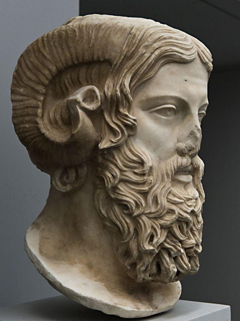Zeus Ammon, Greek original 5th C. BCE Curved rams horns ...