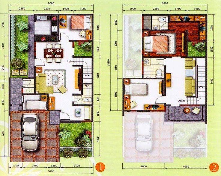 Contoh Denah Rumah Minimalis 2 Lantai   Denah rumah, Rumah ...
