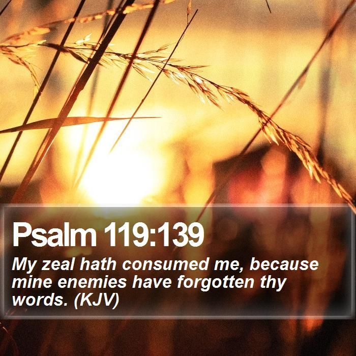 Psalm 119:139 My zeal hath consumed me, because mine ...