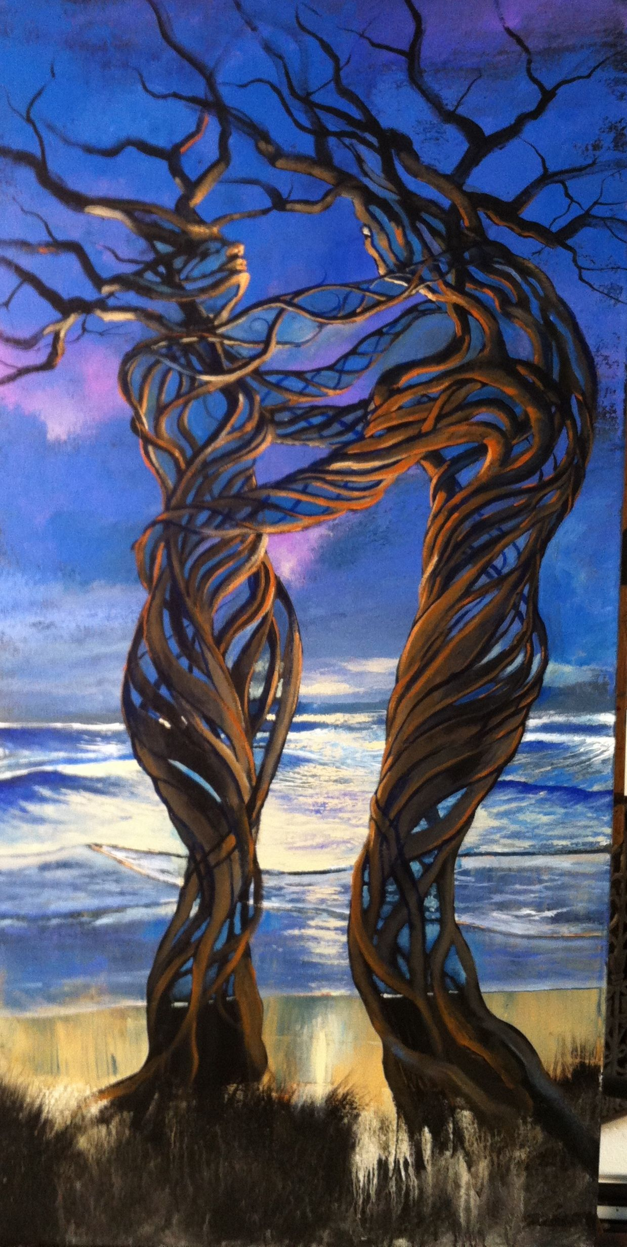 **Ford Smith - Driftwood Couple Painting arbres en amour ...