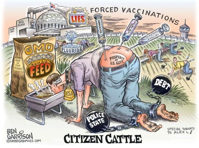 Anti-vaxx propaganda by Ben Garrison : vaxxhappened