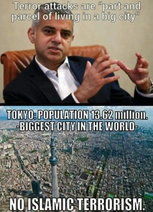Mayor Sadiq Khan of Londonistan says terror attacks are ...