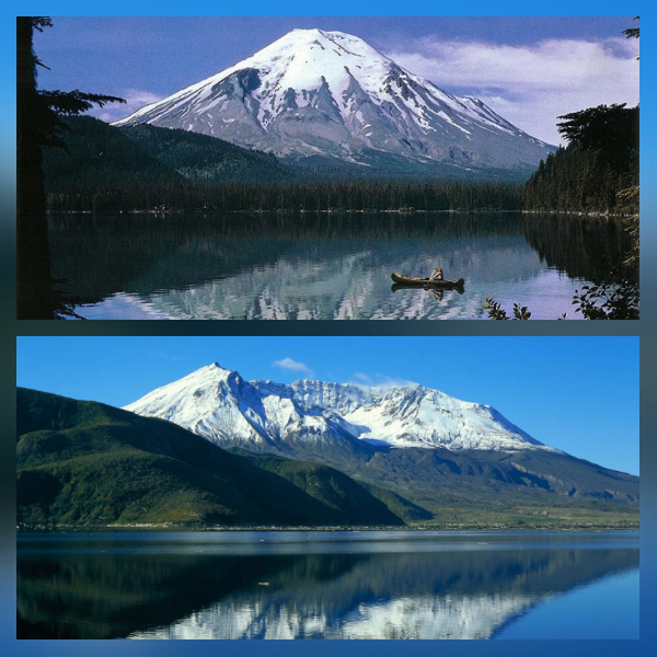 Mount St. Helens before and after the eruption of 1980 : pics