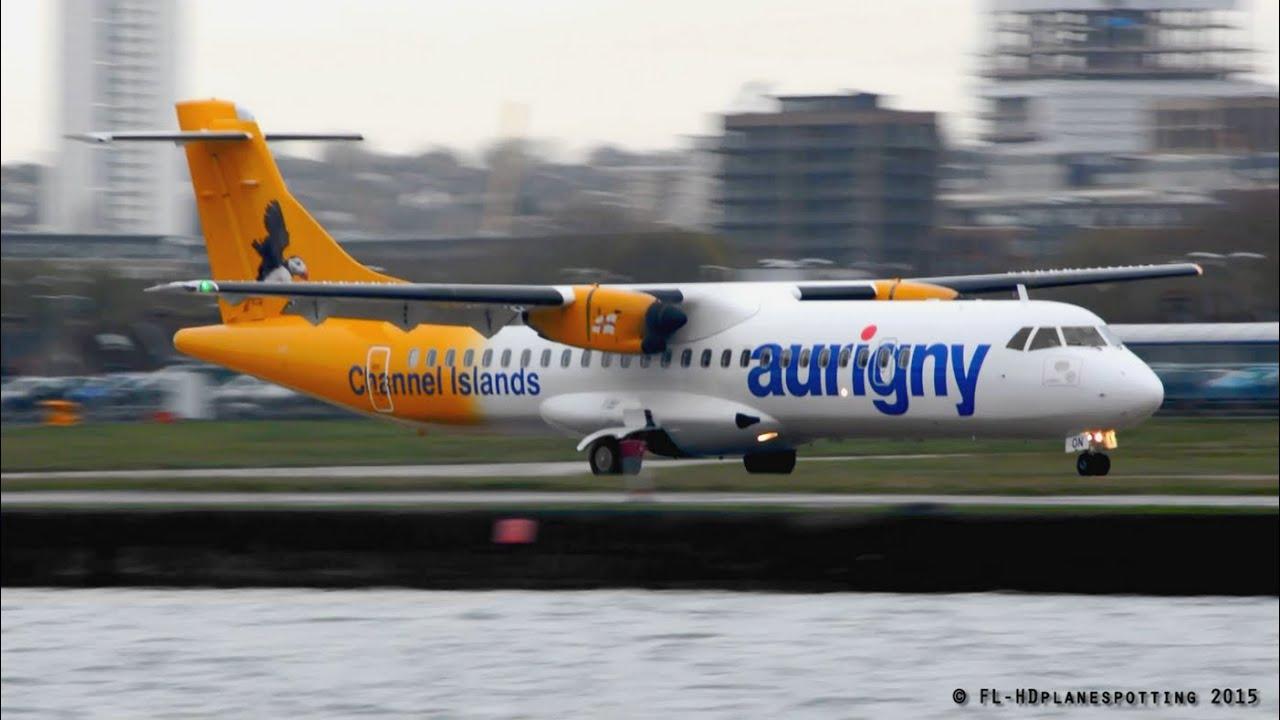 Aurigny Air Services ATR 72 windy landing & takeoff at ...