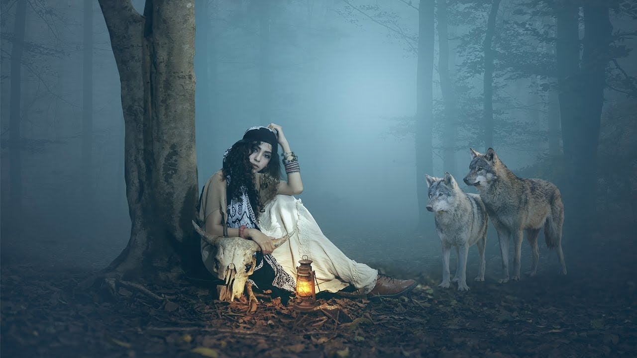 Girl with wolf photoshop manipulation Tutorial - Night ...