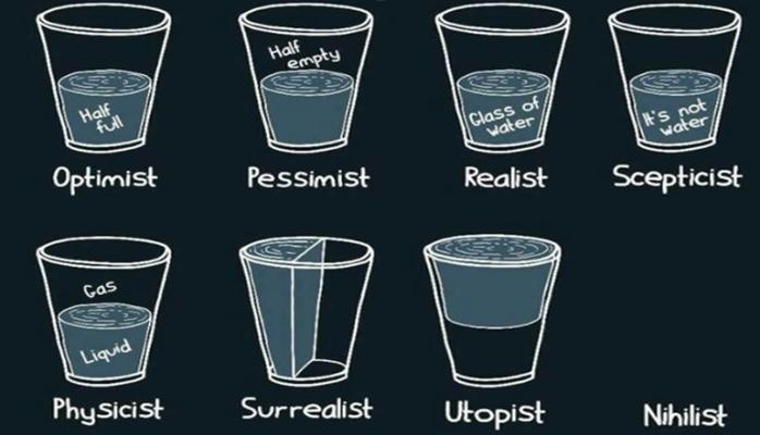 Optimist Pessimist Physicist  Surrealist Half full Half empty Glass