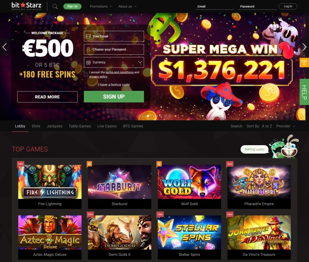 You can play different slot machines at casino BitStarz NZ