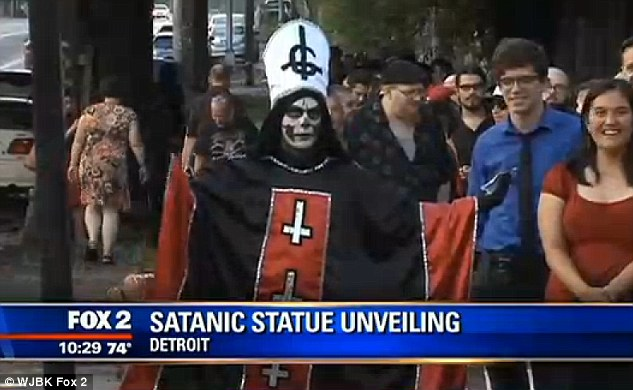 Satanic Temple unveils goat-headed statue in Detroit | End Time Bible ...