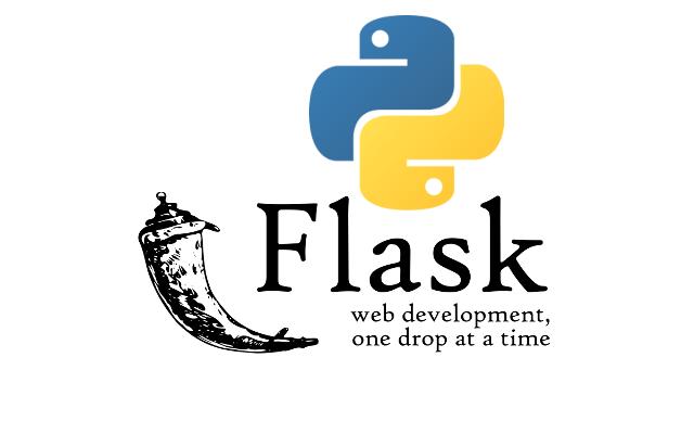 Flask logo with Python logo.