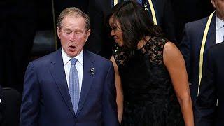 George W. Bush Dances At Dallas Police Memorial Service