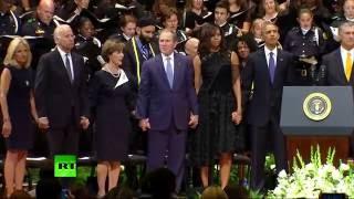 RAW: George Bush dancing during Dallas memorial service