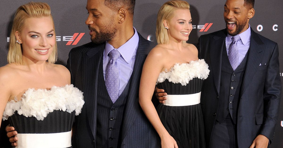 Will Smith and Margot Robbie can't stop smiling as they ...