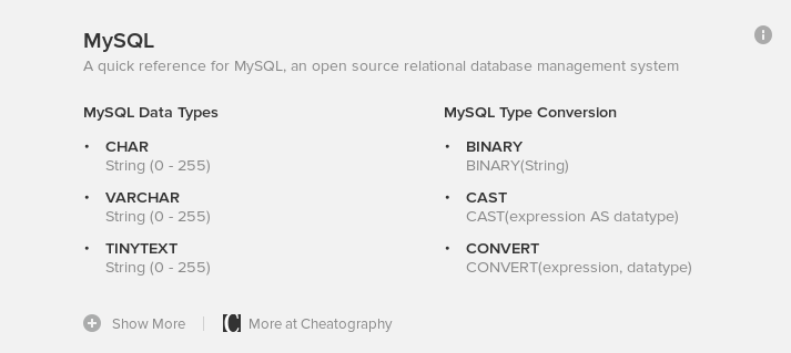Screenshot of DuckDuckGo's MySQL cheat sheet