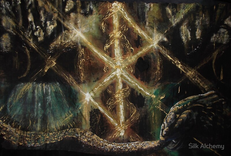 """ Runes in the Yggdrasil with Jormungand"" by Silk Alchemy ..."