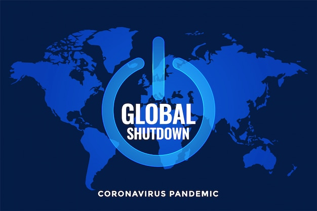 Global lockdown and shutdown with world map | Free Vector