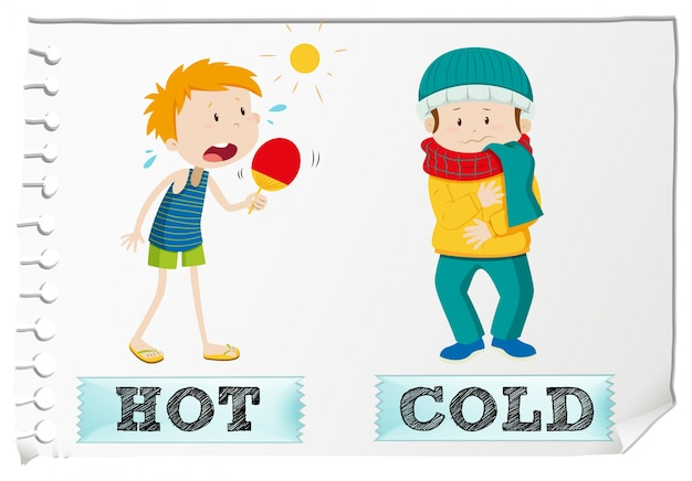 Opposite adjectives hot and cold | Free Vector