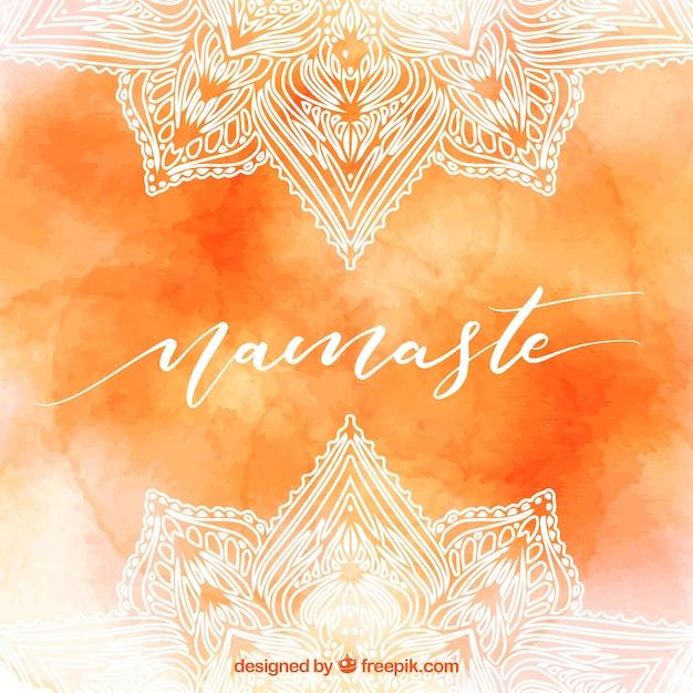 Fond Orange Aquarelle De Namaste | Vecteur Gratuite