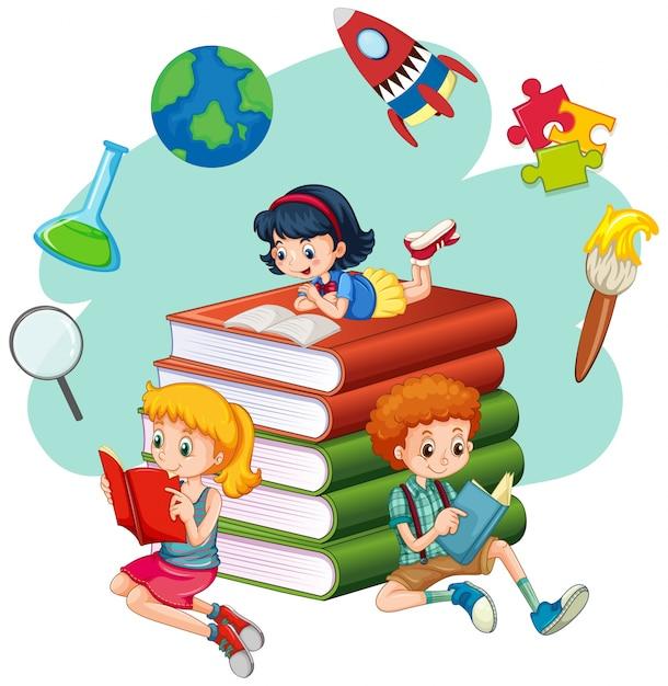 Trois enfants qui lisent des livres | Télécharger des ...