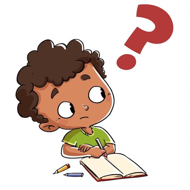 Niño que tiene una pregunta con un signo de interrogación ...