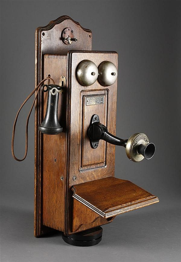 """WALL MOUNTED ANTIQUE TELEPHONE - Marked """"The B-R Electric"""