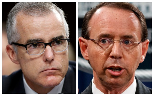McCabe accuses Rosenstein of being a 'willing accessory' to 'the president and his men' and claims he's trying to 'rewrite…history'…