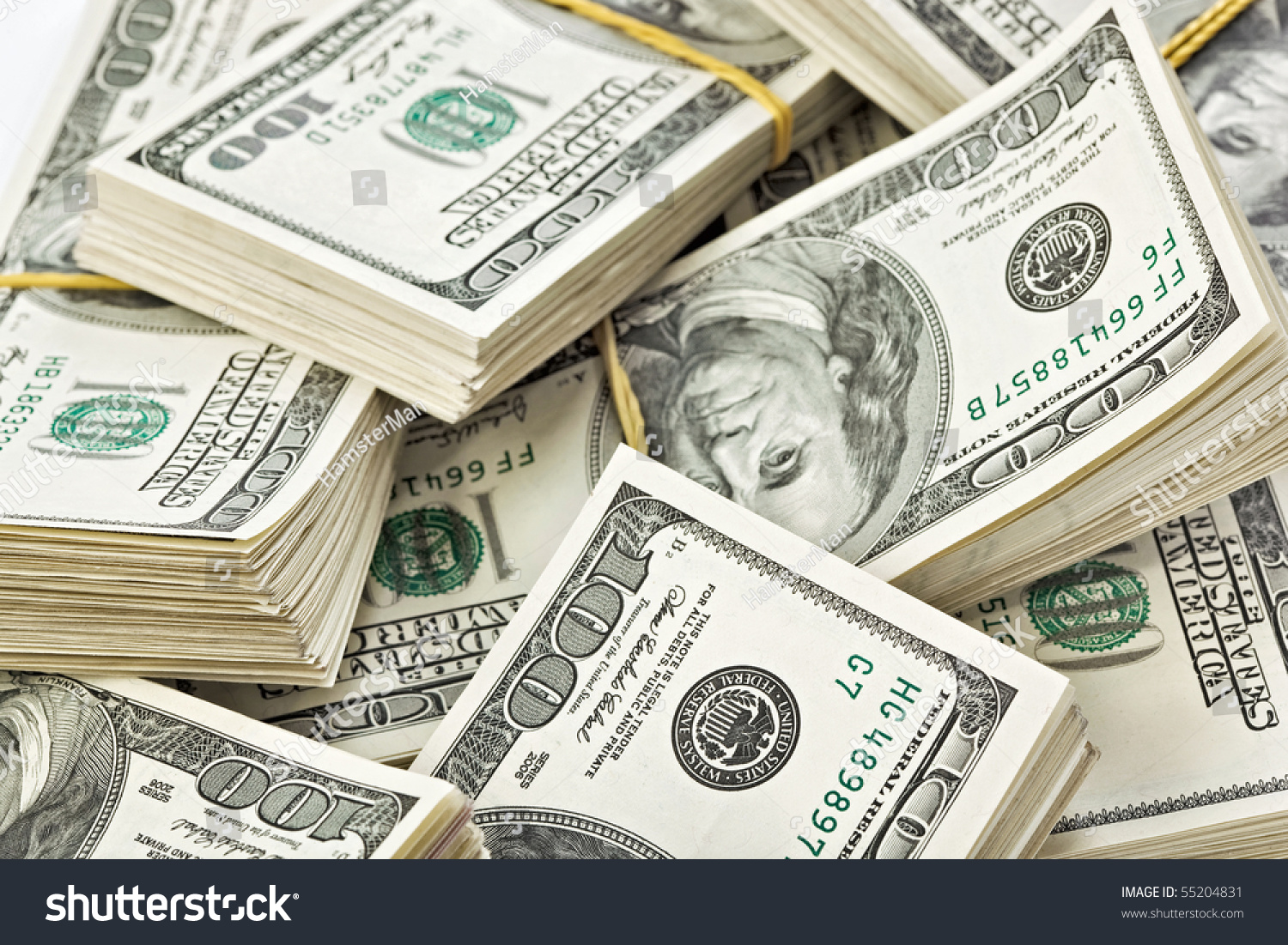 Many Bundle Us 100 Dollars Bank Stock Photo 55204831 ...