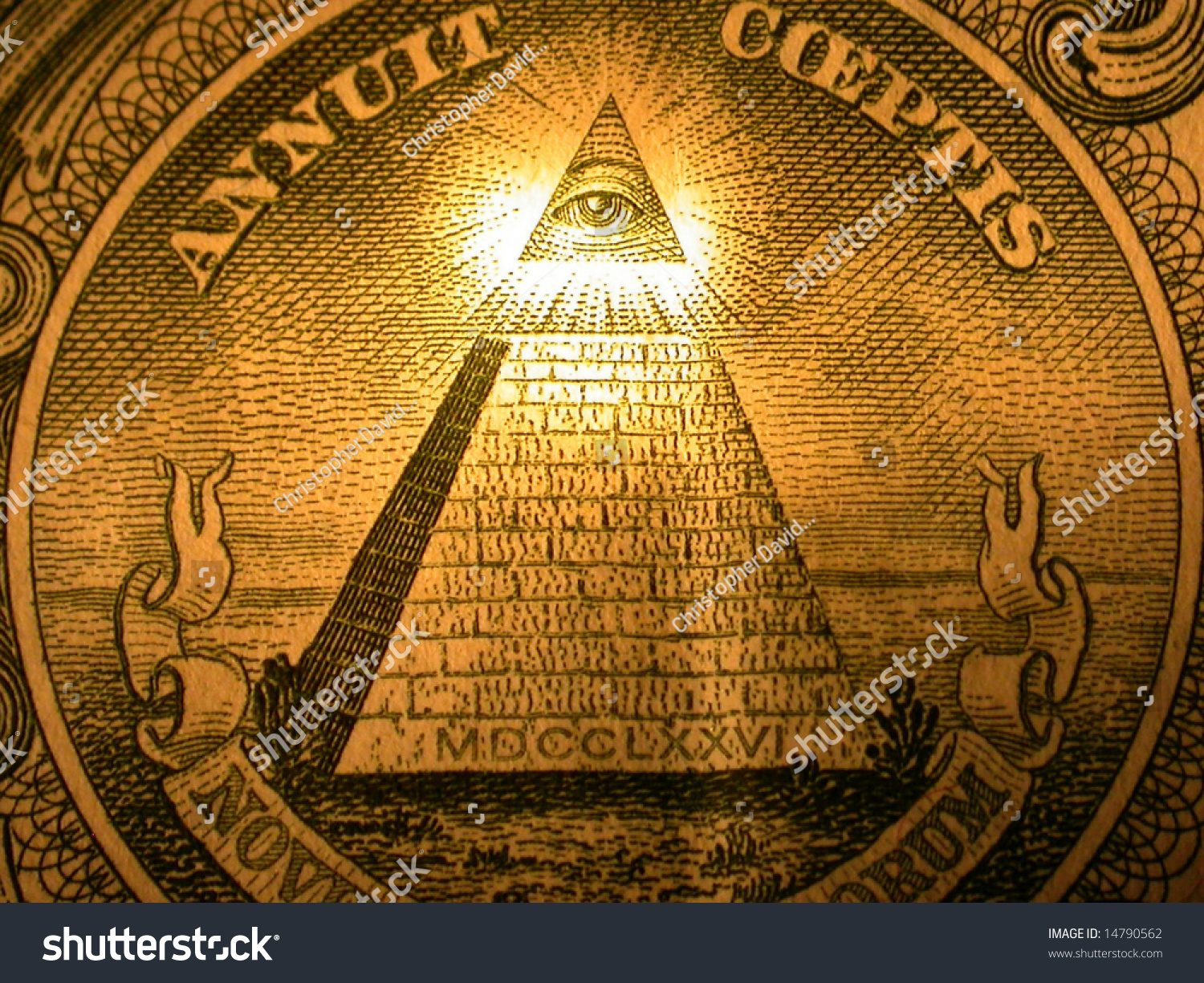 Pyramid On Back American One Dollar Stock Photo 14790562 ...