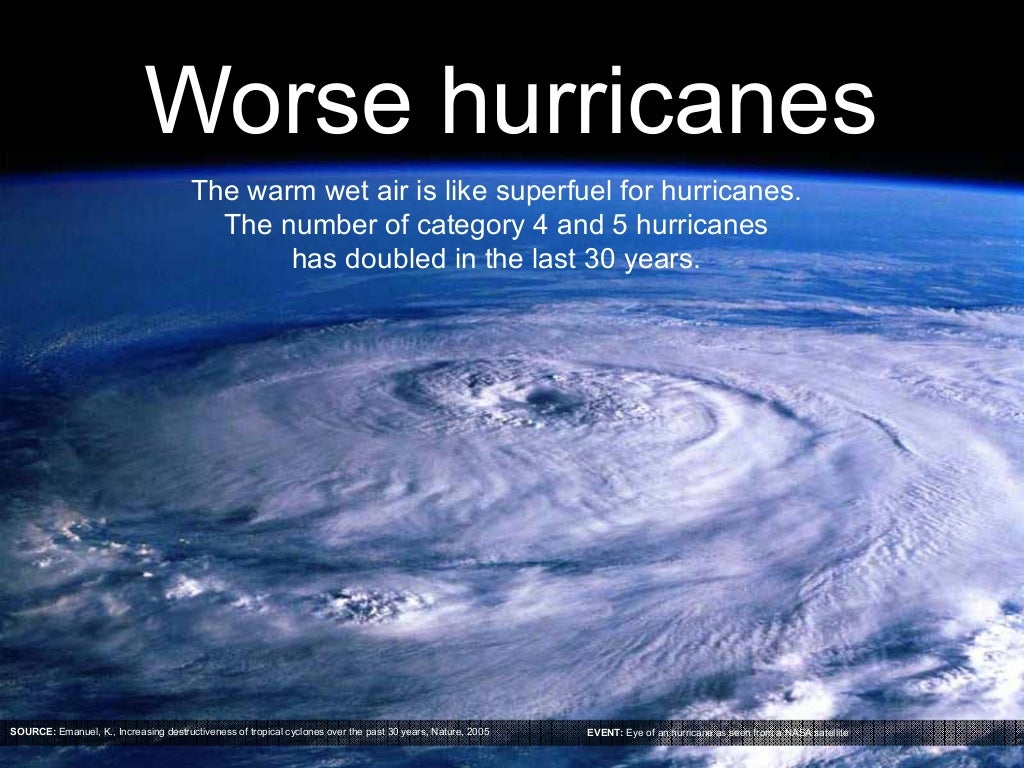 Worse hurricanes The warm wet