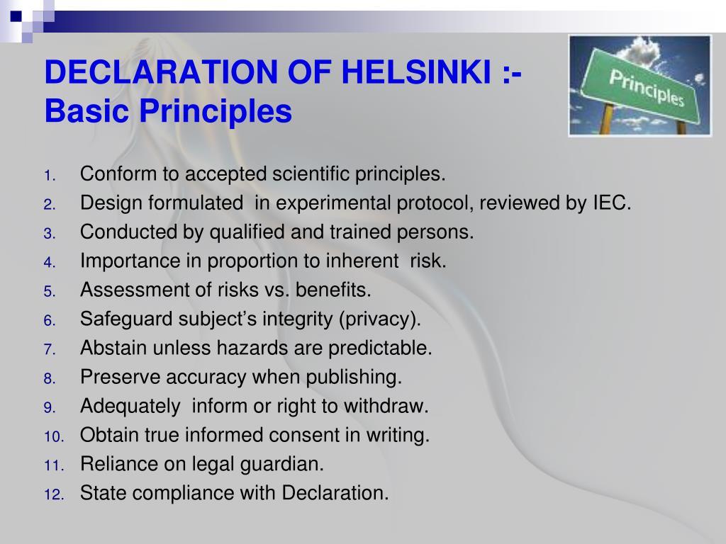 PPT - THE DECLARATION OF HELSINKI PowerPoint Presentation - ID:3053624