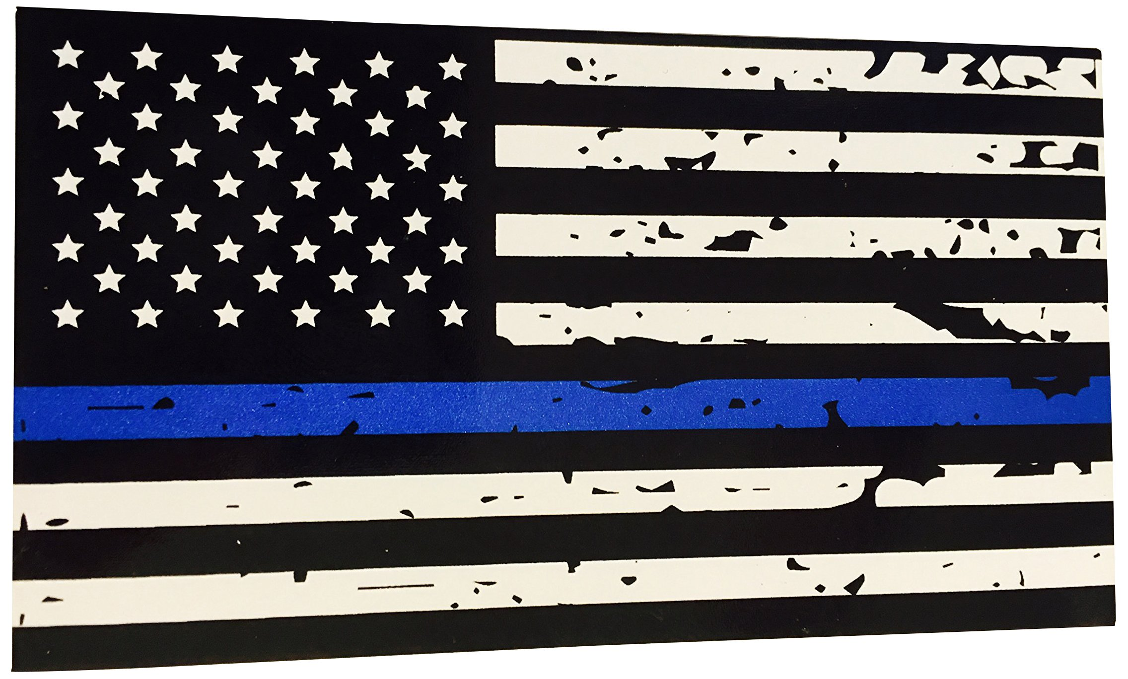 BlueLine Flags Tattered Thin Blue Line Vinyl Reflective Decal Black ...