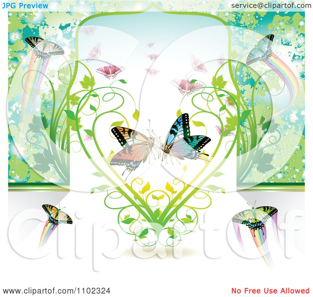 Clipart Butterflies And A Vine Heart - Royalty Free Vector ...