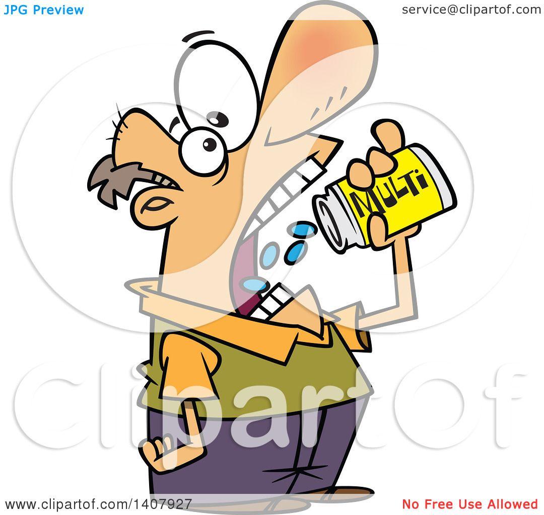 Clipart of a Cartoon White Man Chugging down Multi ...