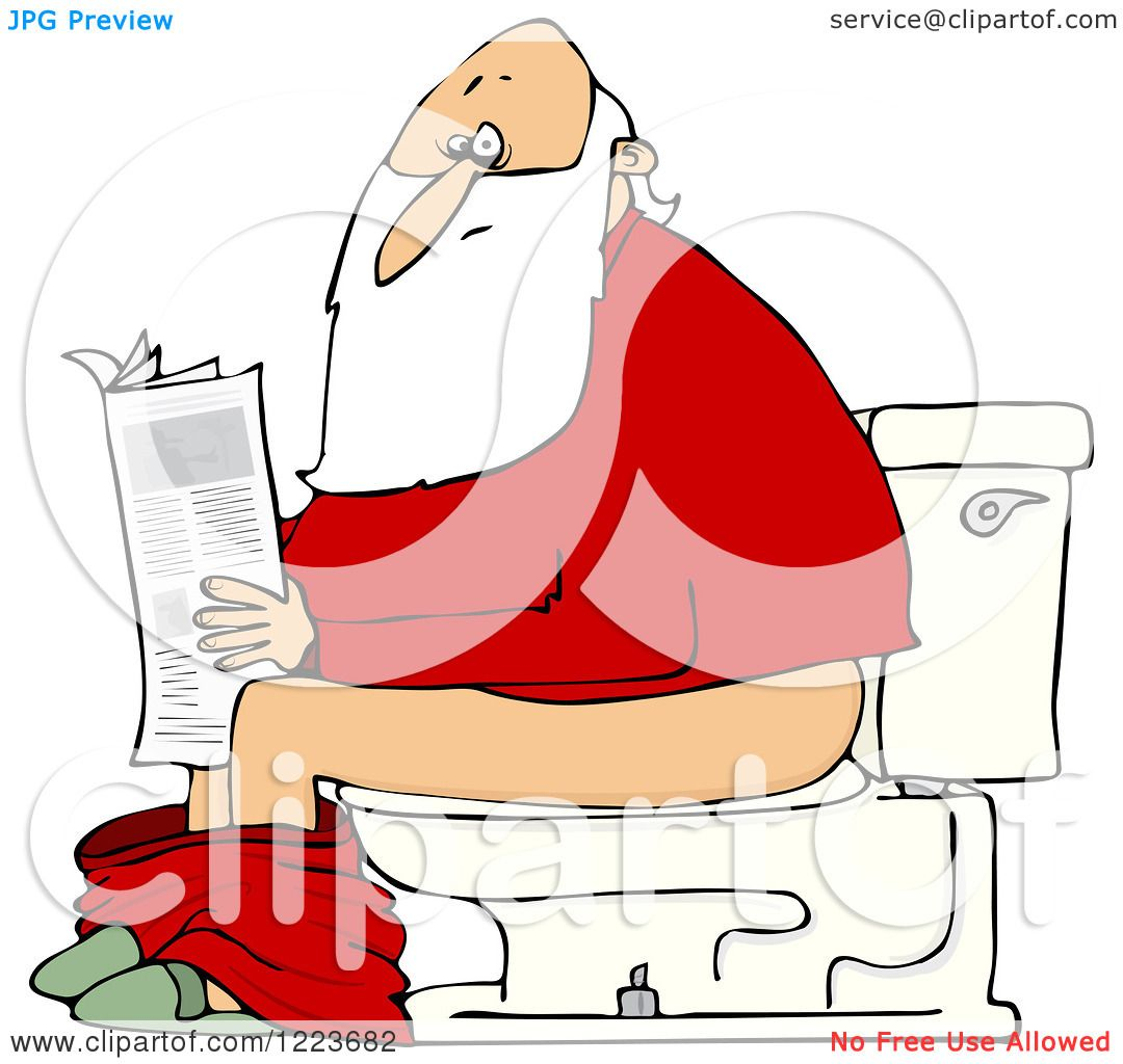 Clipart of Santa Reading the Newspaper on a Toilet ...