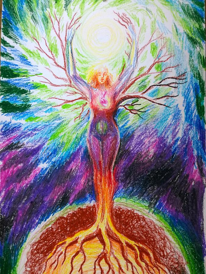 Feminine Energy Between The Earth And The Universe Drawing ...