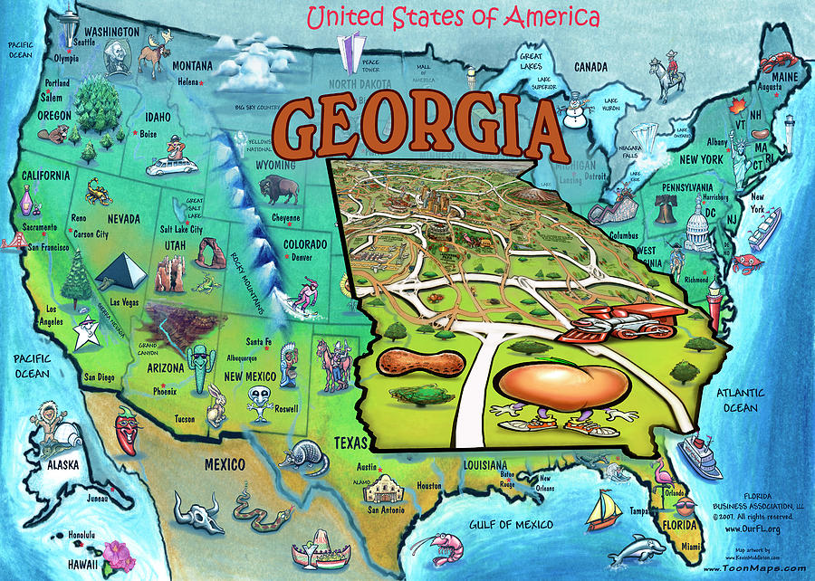 Georgia USA Cartoon Map Painting by Kevin Middleton