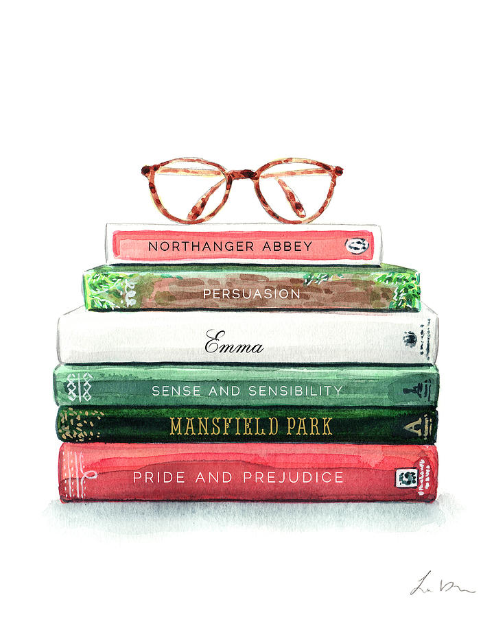 Jane Austen Library Book Stack with Reading Glasses ...
