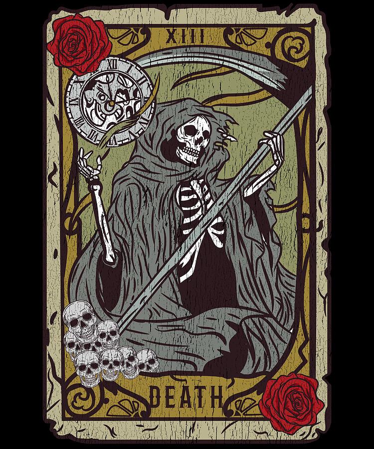 Vintage Death Tarot Card I Occult Skull Reaper print ...
