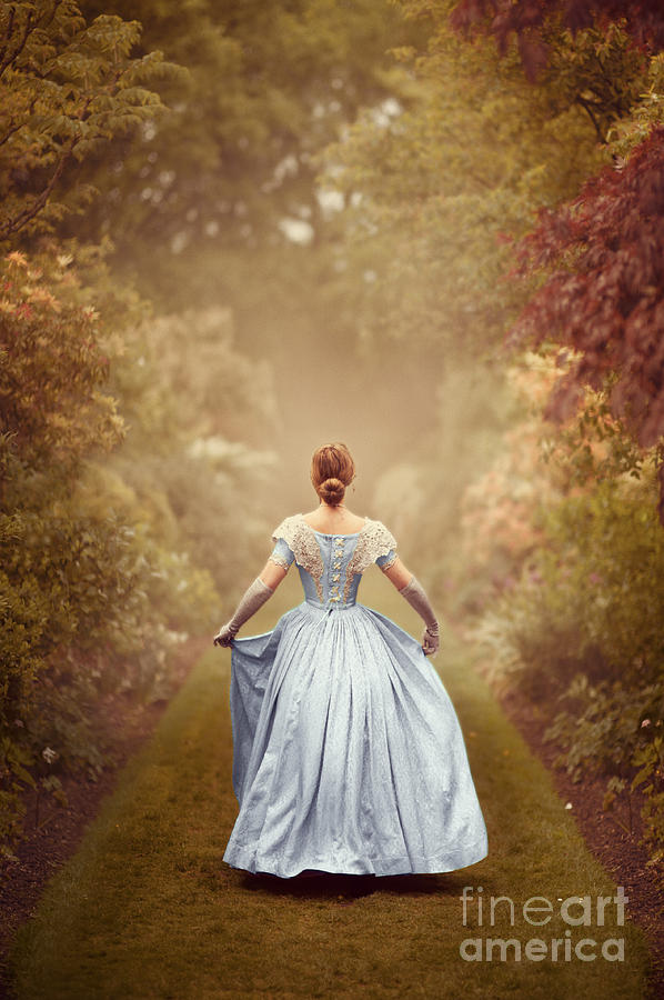 Victorian Woman In A Garden At Dawn Photograph by Lee Avison