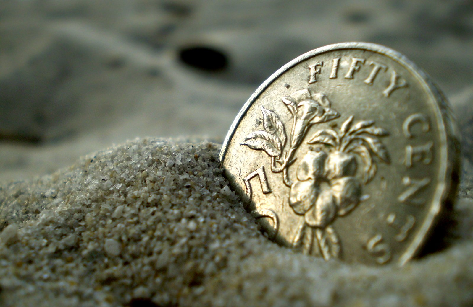 Free Coin in sand Stock Photo - FreeImages.com