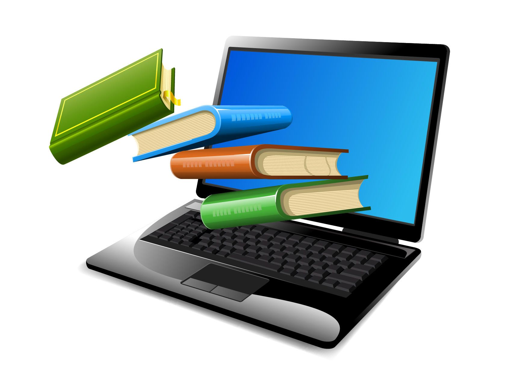 Books Floating on Opened Laptop - Vector download