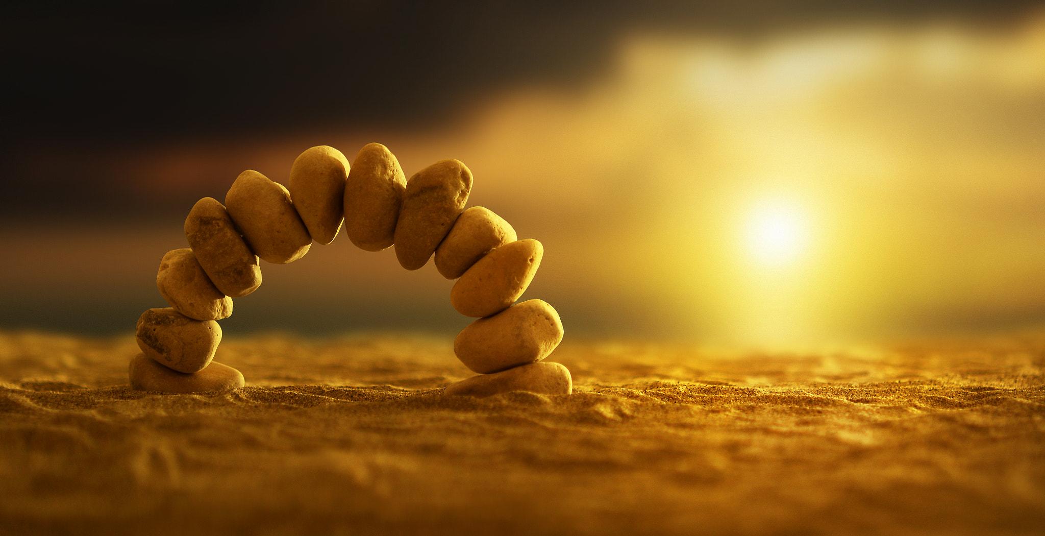 Sunlight On Zen Stones, Full HD 2K Wallpaper